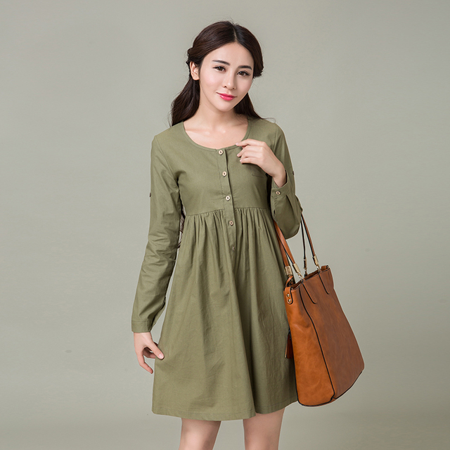 0ed67064bc8 Women Big Size Korean Style Loose Women s Cotton And Linen Tall Waist  O-neck Dress Female 2016 Long Sleeve Autumn