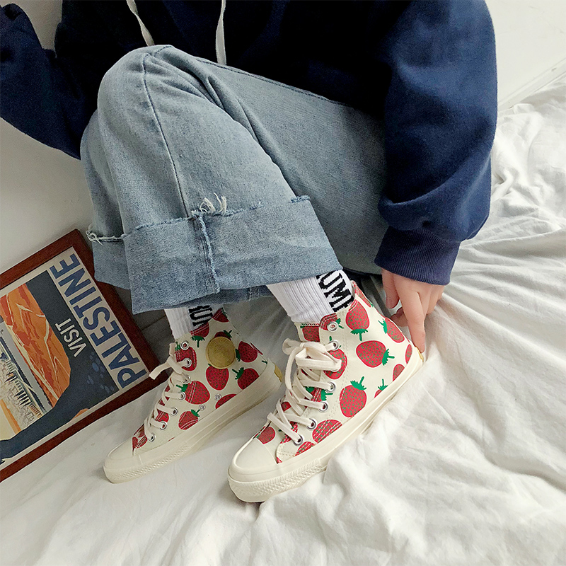 Woman Shoes 2019 Spring New Fashion Women Canvas Shoes Printed Casual Breathable Cute Strawberry Women Casual Shoes SneakersWoman Shoes 2019 Spring New Fashion Women Canvas Shoes Printed Casual Breathable Cute Strawberry Women Casual Shoes Sneakers