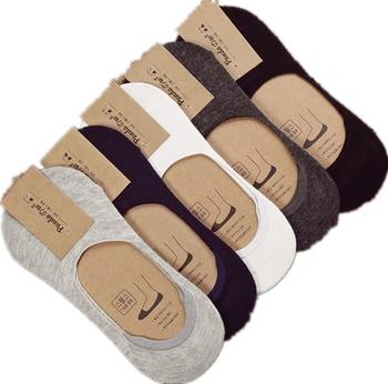 10 قطعة = 5 أزواج جديدة الجوارب القطنية الرجال غير مرئية الرجال الجوارب سيليكون المضادة للانزلاق ، الجوارب الصيفية بلون نقي