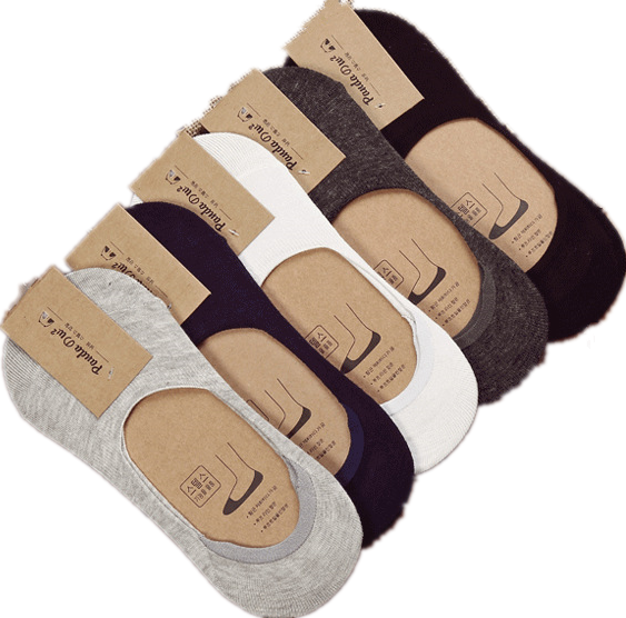 10 pieces = 5 pairs new Cotton men invisible socks men socks  silicone anti - skid, pure color summer socks