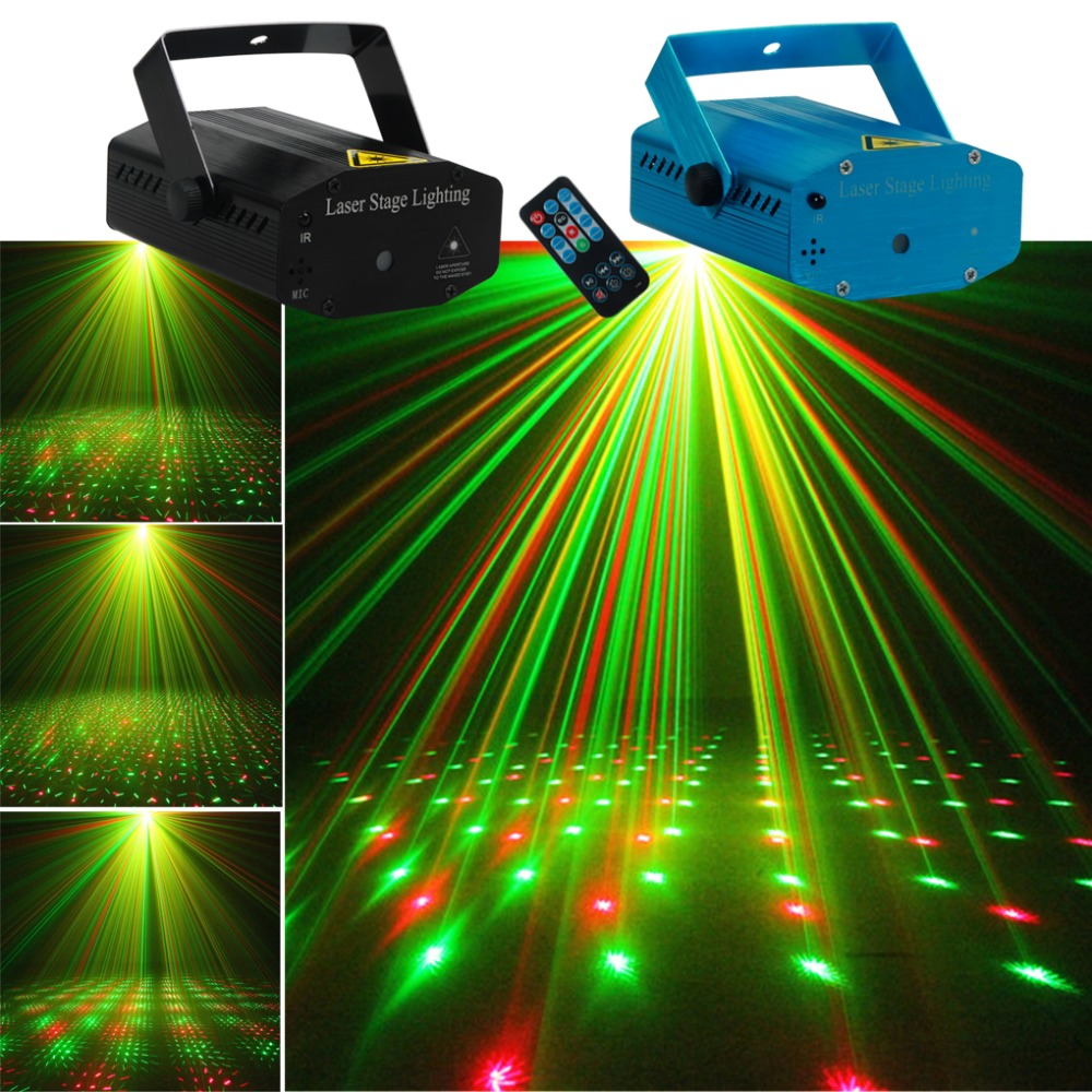 AUCD Mini Portable Remote Red Green Meteor Shower Projector Laser Light DJ Home Xmas Party Holiday Show LED Stage Lighting OI100