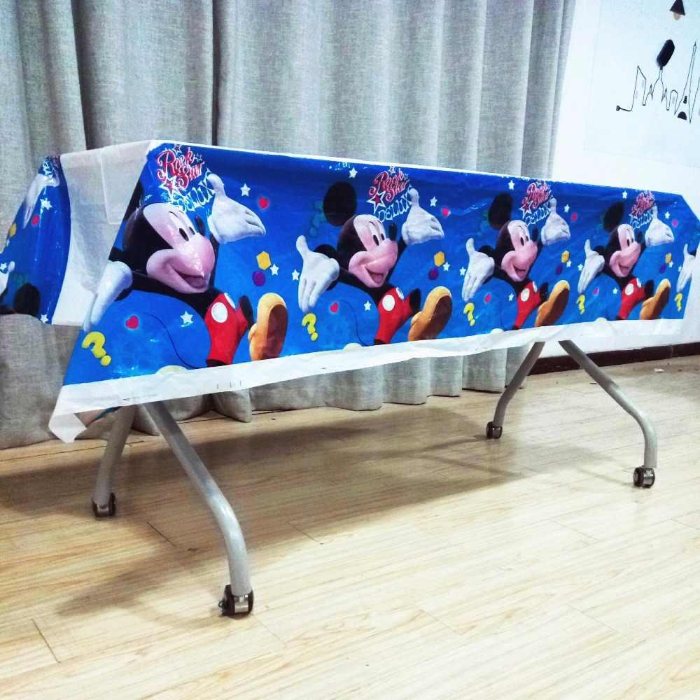 108 Cm * 180 Cm Mickey Mouse Sekali Pakai Ulang Tahun Taplak Meja Anak-anak Pesta Ulang Tahun Plastik Penutup Perlengkapan Nikmat Set