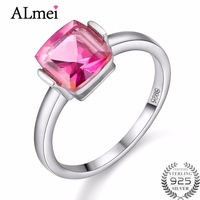 Almei 40 Off Wedding 2CT Gemstone Rings With Pink Topaz Stones 925 Sterling Silver Ring For