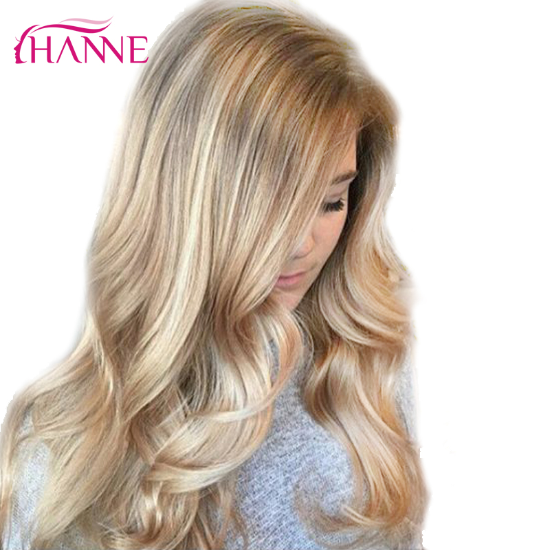 HANNE Ombre Ash Blonde Color Synthetic Wigs High Temperature Fiber Daywear Or Party Or Cosplay Ombre Wigs For Black/White Women