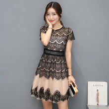 Summer dresses 2018 New Korea Style Women Fashion Short-sleeved O-neck Sexy Hollow out Lace Stitching Dress Casual Vestido