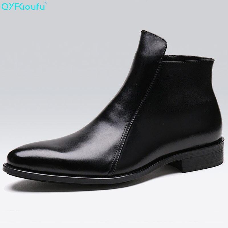 QYFCIOUFU fait à la main de luxe marque de cuir de vache automne hiver hommes bottes mode bout pointu mariage Chelsea bottes Vintage