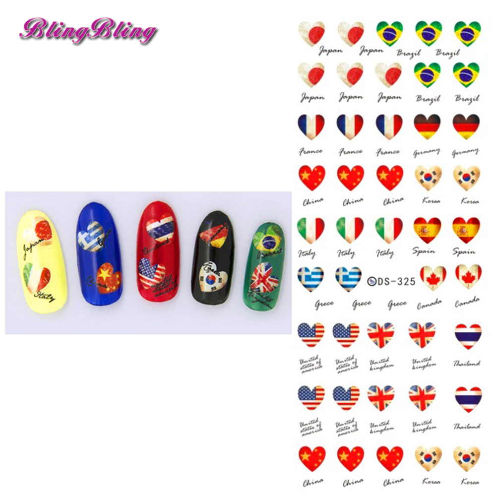 2 sheet flag nail decals water transfer art sticker country flags pattern diy wraps harajuku finger decoration for nails girls