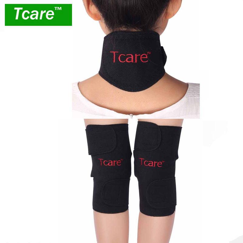 1Set Tcare Self Heating Tourmaline Knee Support Brace Magnetic Therapy Neck Massage Protector Tourmaline Set mens thickening football volleyball extreme sports knee pads brace support protect cycling knee protector kneepad ginocchiere