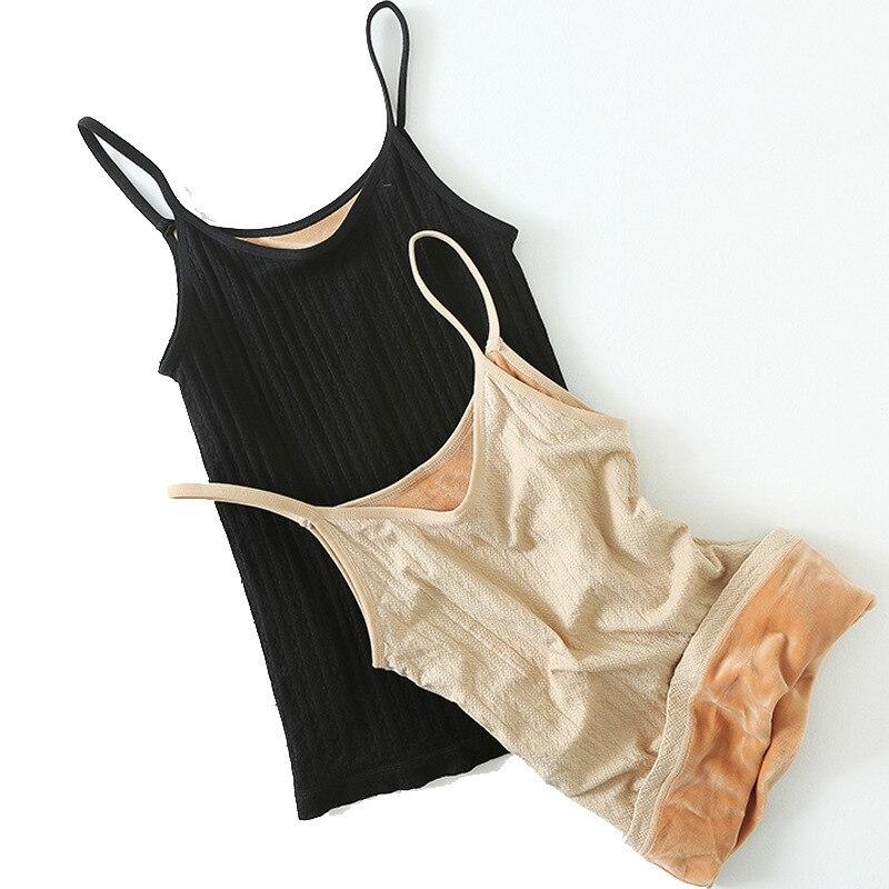 >2018 Autumn Winter New Keep Warm Add Velvet Thicken Women <font><b>Tank</b></font> <font><b>Tops</b></font> <font><b>High</b></font> Quality Sexy Solid Bottoming Women Vest