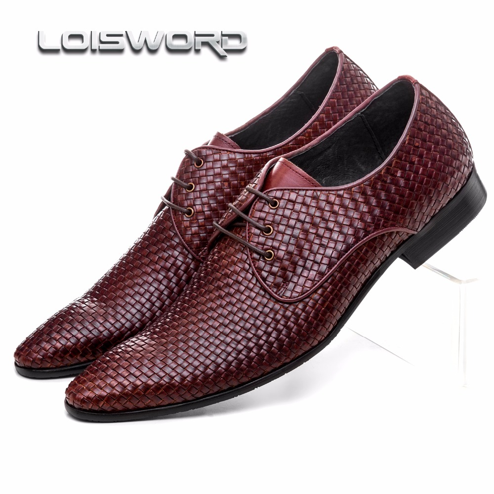 LOISWORD quality woven design pointed toe mens business shoes genuine leather dress shoes mens formal wedding shoes woven textile design
