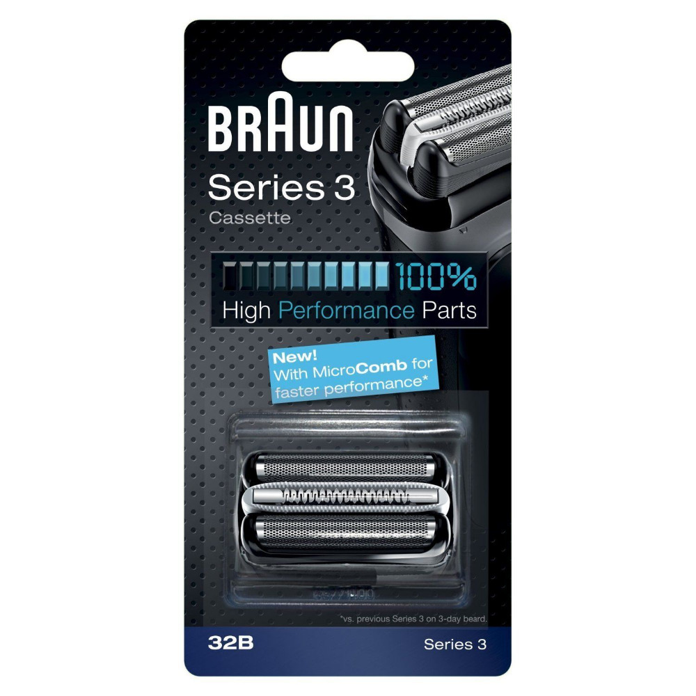 32B Black Shaver Foil Cutter Shaver Head for Braun Braun Series 3 320 330 340 380