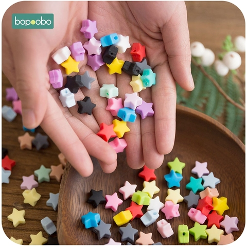 Bopoobo 10pcs Silicone Beads Food Grade Silicone Star Teether Baby Products Silicone Rodent Bracelet Diy Crafts Baby Teether Karachi