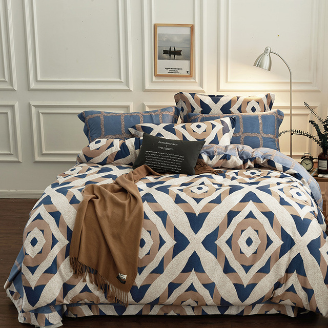 Luxury Baroque And Simple Geometric Print Bedding Set Queen King Size Quality Sanding Tencel Fabric Duvet