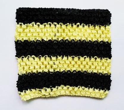 Вязанная крючком юбка-пачка для маленьких девочек, 9 дюймов, топы-трубы, обхват груди, широкая вязаная крючком, топы, юбка-пачка «сделай сам», платье, поставщик - Цвет: Black yellow stripe