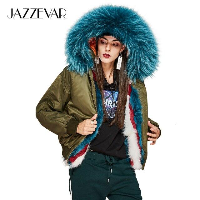 Jazzevar 2017 новая зимняя высокая мода Улица женщины роскошный натуральным лисьим мехом внутри куртка-пилот толстый теплый мех енота полупальто
