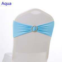 Aqua colour sky blue Spandex chair sash wedding chair sashes with round buckle lycra stretch sash for chair spandex band(China)