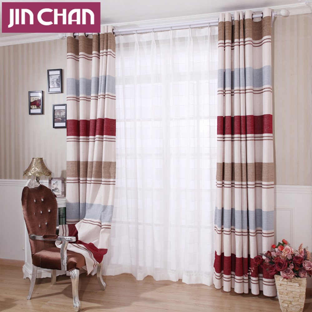 Finished Strip Design Modern Window Blackout Curtains