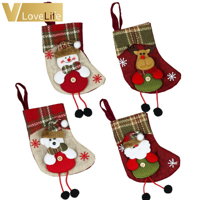 3d plaid christmas stockings 16x12cm mini christmas gift bags new year tableware pouch cutlery holder with - Plaid Christmas Stockings