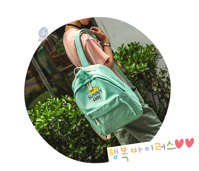 Newest Fashion Canvas Bag Women Cute Design Backpack Sunny Day Printed Letter Travel for Teenagers Bags