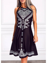 купить Summer Sexy Women Elegant Black Print Cotton Dress O-Neck Sleeveless Hollow Out Vest Dating Party Women's A-Line Dress Vintage по цене 683.23 рублей