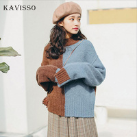 2018 Winter Korean Fashion Patchwork Cashmere Sweater Women Warm Pullover Long Sleeve Knitted Winter Sweater Top pull femme