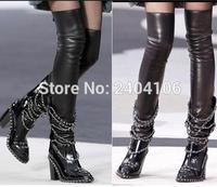 Siyah Rugan Streç Uyluk Yüksek Çizmeler Zincir Süslenmiş Kare Topuk Diz Üzerinde Çizmeler Platform Ayakkabılar Kadın Ayak Bileği Patik