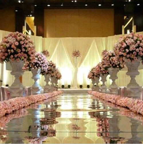 10 m / roll Luxury Wedding Centerpieces Gold Silver Double Side Pasillo Corredor Espejo Alfombras Para Bodas T Decoraciones Estación