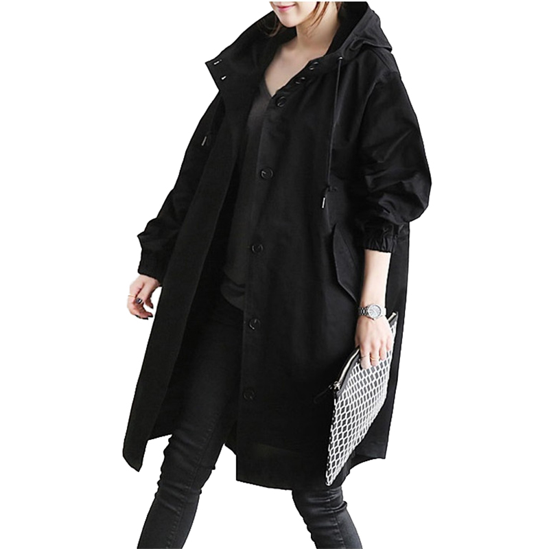 2019 Spring Autumn Trench Coat Women Hooded Tops Cotton Thin Coats Female Single-breasted Large Size Windbreaker No Lining A2463