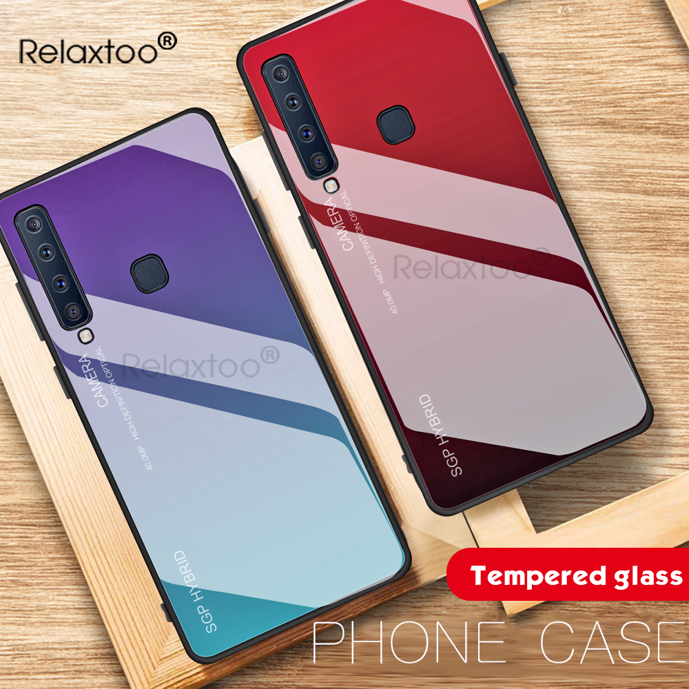Gradient Tempered Glass Phone Case For Samsung Galaxy A7 2018 A750 Back Cover Shockproof Silicone Case <font><b>A72018</b></font> SM-A750F 7A 6.0'' image