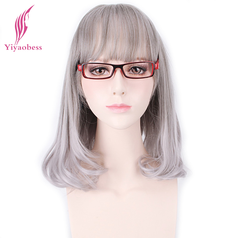 Yiyaobess Synthetic Silver Ombre Wig Natural Hair 14inch Cosplay Bob Bang Wigs For Women Heat Resistant