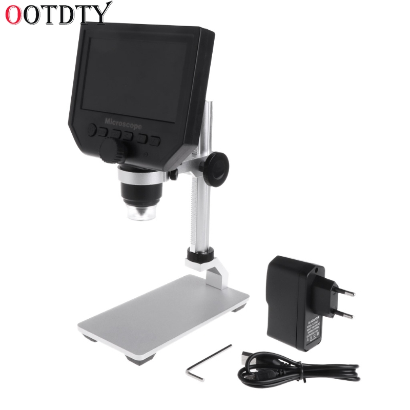 OOTDTY G600 4.3 LCD Digital Microscope LED Zoom 1-600X 3.6MP HD Camera Video Recorder