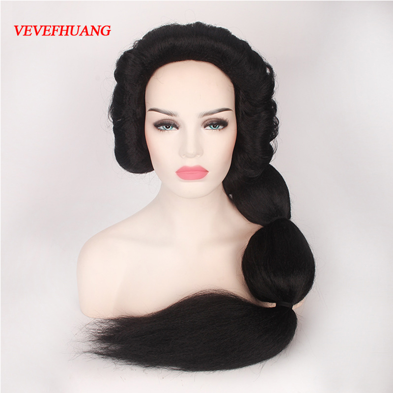 VEVEFHUANG Movie Aladdin and the magic lamp Princess Jasmine Black Long wig Braid Role Play costumes