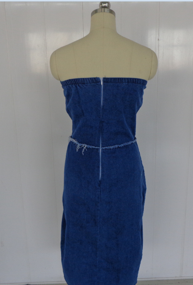 c695ada002 New fashion elegant 2017 bandage dress sexy strapless club women bodycon  denim dress SY0618-in Dresses from Women s Clothing   Accessories on  Aliexpress.com ...