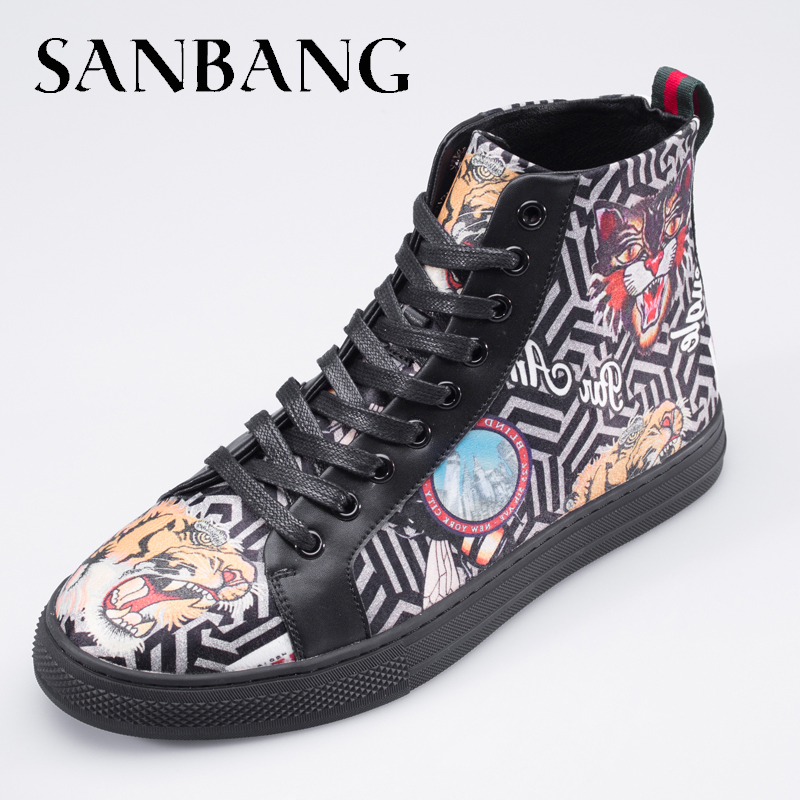 Men Trendy Tiger embroidery Fashion Top High Sneakers Print Tiger Casual Shoes Men Lace up Microfiber Shoes Male Footwear AX5 eyelet lace botanical print top