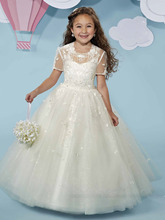 2016 Shimmering Tulle Flower Girls Dress With Jacket First Communion Dresses Appliques Beaded Girls Pageant Dresses For Wedding