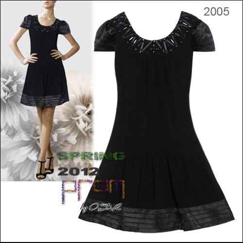 2012A+++New!  Hand-made Short Sleeves Black Mini Casual  bridesmaid Dress Evening Dress