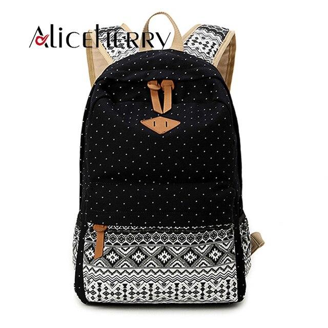 Fashion Canvas Printing Backpack Women School Bags for Teenage Girls Cute  Bookbags Vintage Wave Laptop Backpacks Female aa43ad6f05
