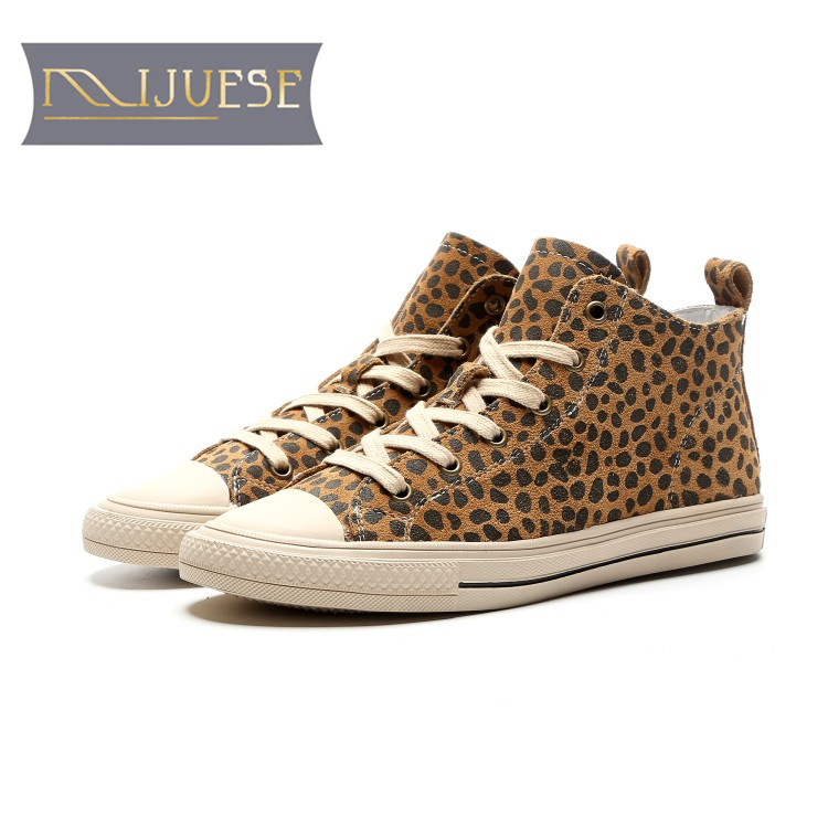 цена MLJUESE 2019 women ankle boots pigskin leopard color lace up round toe autumn spring pigskin flat boots women boots онлайн в 2017 году