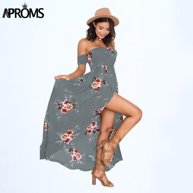 943b454542 Aproms Strapless Boho Print Chiffon Dress Women Sexy Off Shoulder Long Maxi  Beach Dresses Sundress Plus Size Vestidos de festa