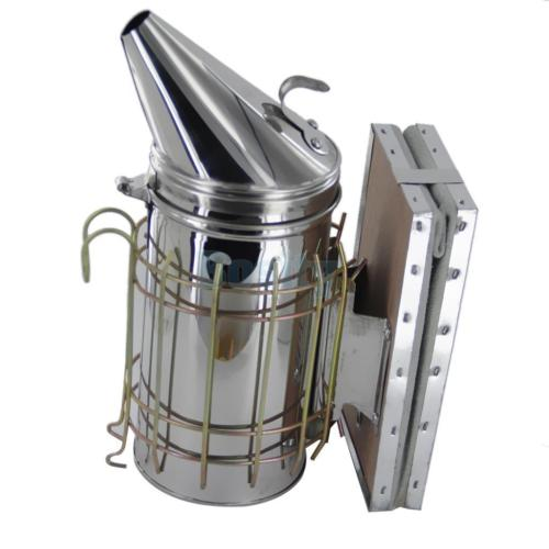 Bee Hive Smoker Stainless Steel w/ Leather Heat Shield Beekeeping Equipment 2pcs new 41x6cm bee hive sliding mouse guard travel gate beekeeping equipment