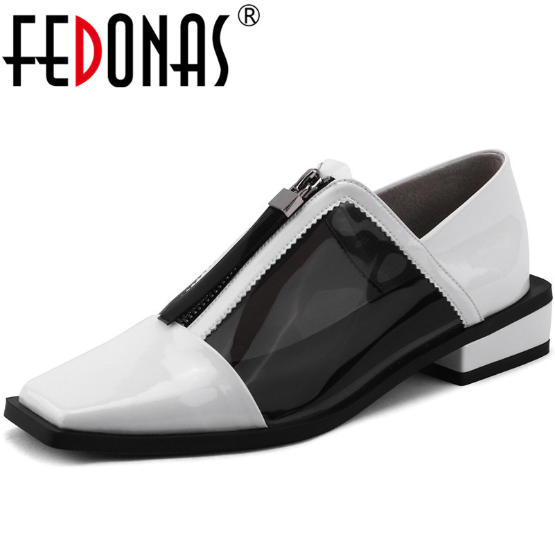 FEDONAS Euro Style Women Genuine Leather Thick High Heels Pumps Sexy Zipper Spring New Shoes Woman