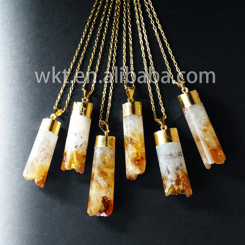 WT 445 Natural raw cube stone pandent gold strim chain yellow stone necklace stone necklace Elegance