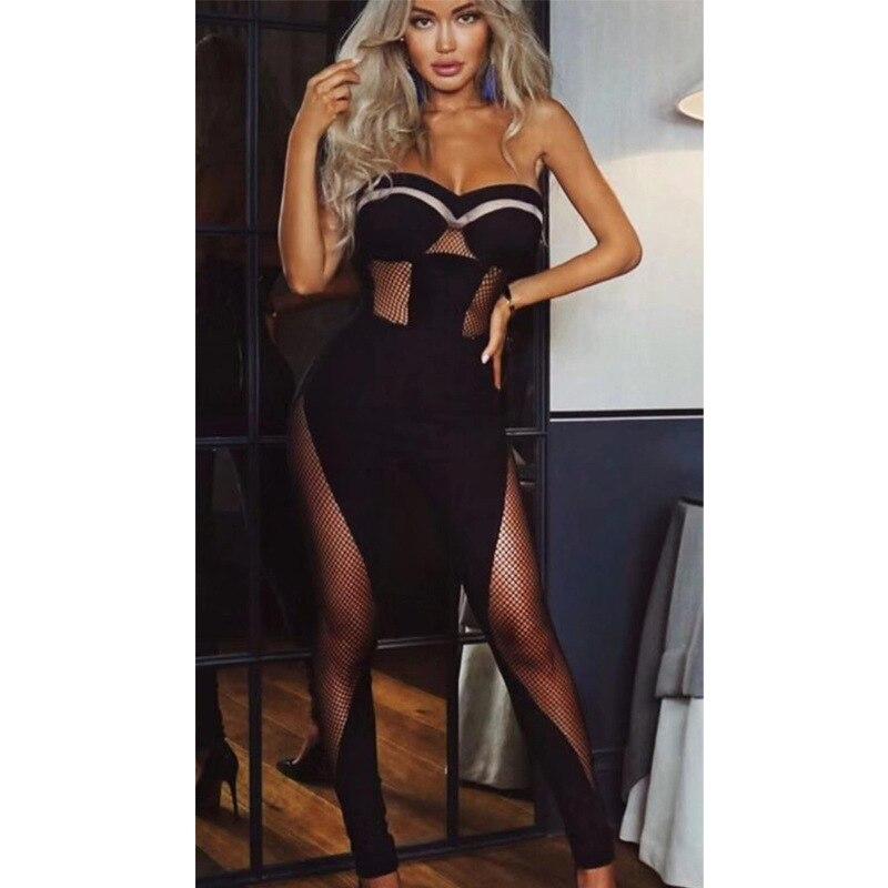 Mode Dos Nu 2018hot Femmes Voir De Gros Nouveau Celebrity Corps Combinaisons Partie Noir Évider Vente Style Con Sexy Bretelles si SPBIS