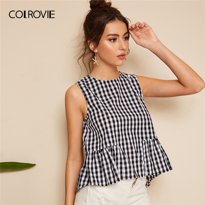 COLROVIE Black and White Smock Gingham Shell Ruffle Cute   Blouse     Shirt   Women Tops 2019 Summer Korean Sleeveless Girly   Blouses