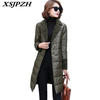 2018 Women Winter Large Size Warm Genuine Leather Down Jacket Fashion Solid Temperament Sheepskin Long Leather Down Coat LC220