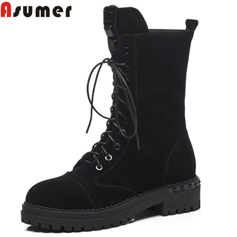 ASUMER black fashion autumn winter boots round toe zip cross tied suede leather boots med heels ladies boots classic 2018 new ASUMER black fashion autumn winter boots round toe zip cross tied suede leather boots med heels ladies boots classic 2018 new