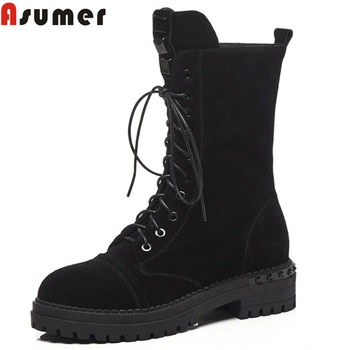 ASUMER black fashion autumn winter boots round toe zip cross tied suede leather boots med heels ladies boots classic 2020 new