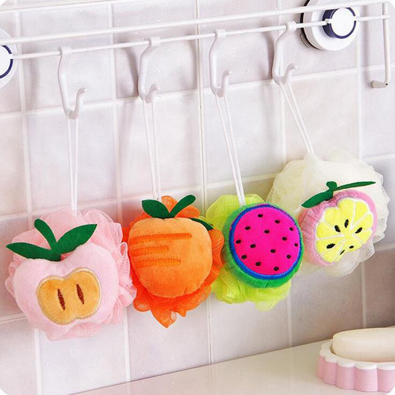Creative Household Fresh Colorful Fruit Bath Ball Cute Soft Flannel with Rope Hanging Bath Rub for Shower Accessories U2AXHH0575
