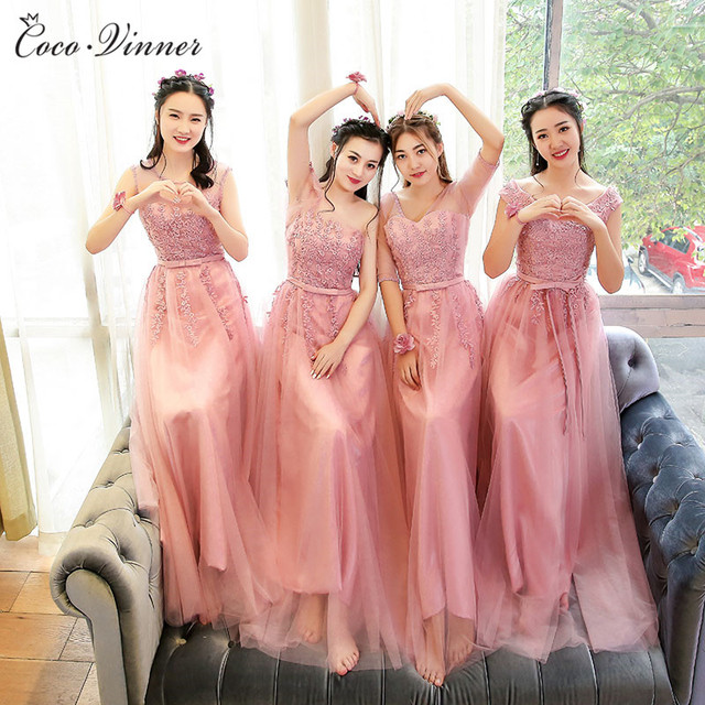 C V 2018 Bridesmaid Dresses Long Design Pink Color Mauve Neckline Slim Style Fashion Lace