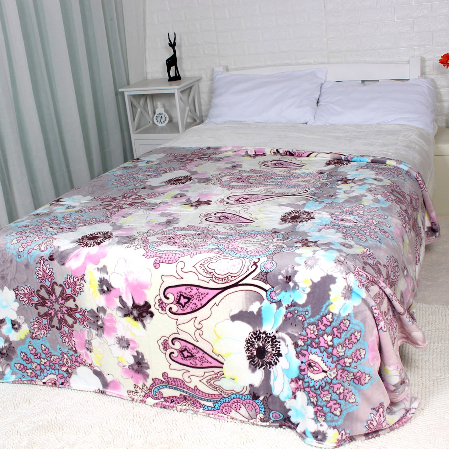 Winter Blanket On The Bed Flower Soft Thick King Queen Size Flannel Fleece Blankets Throw For Couch Sofa Sheet